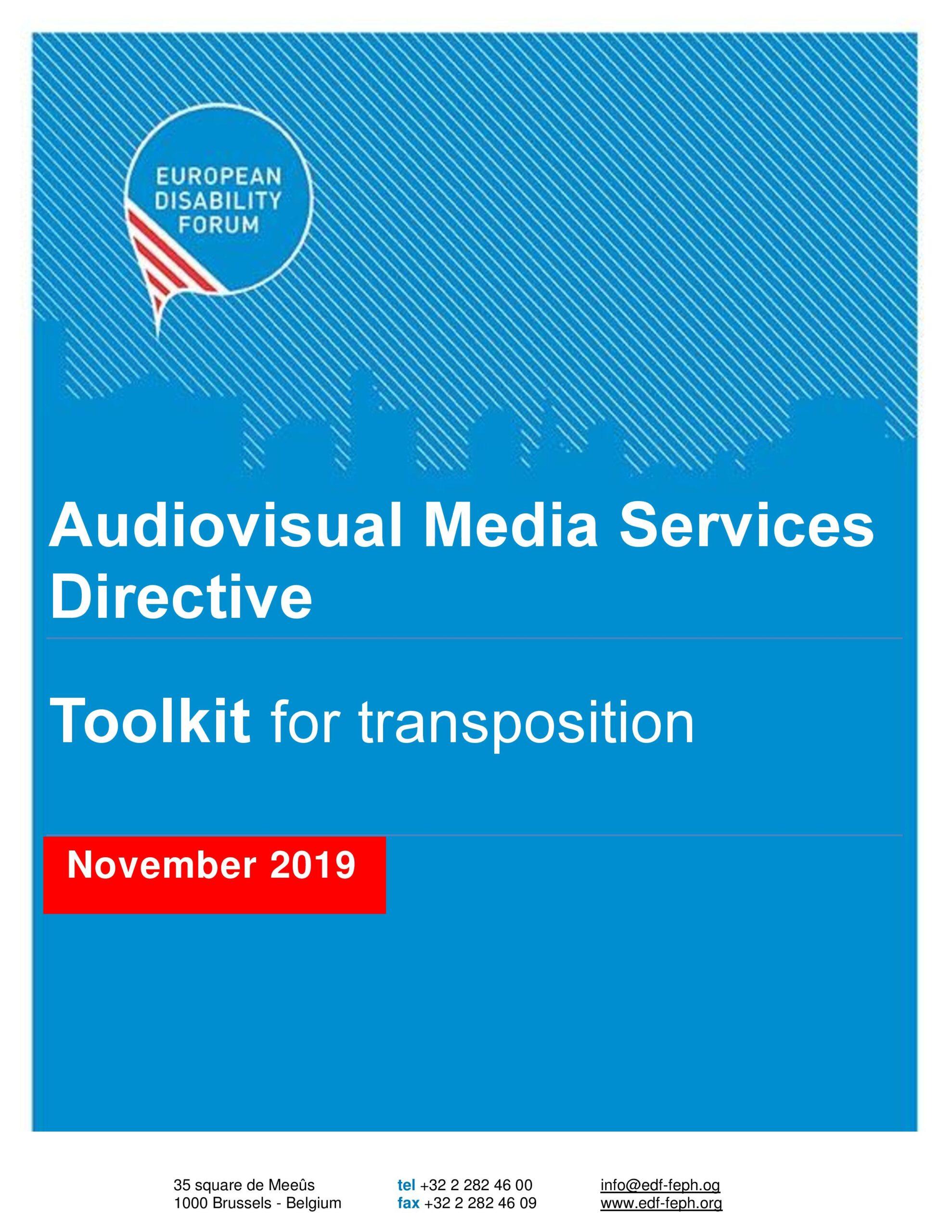 EDF Toolkit 2019 | Audiovisual Media Services Directive