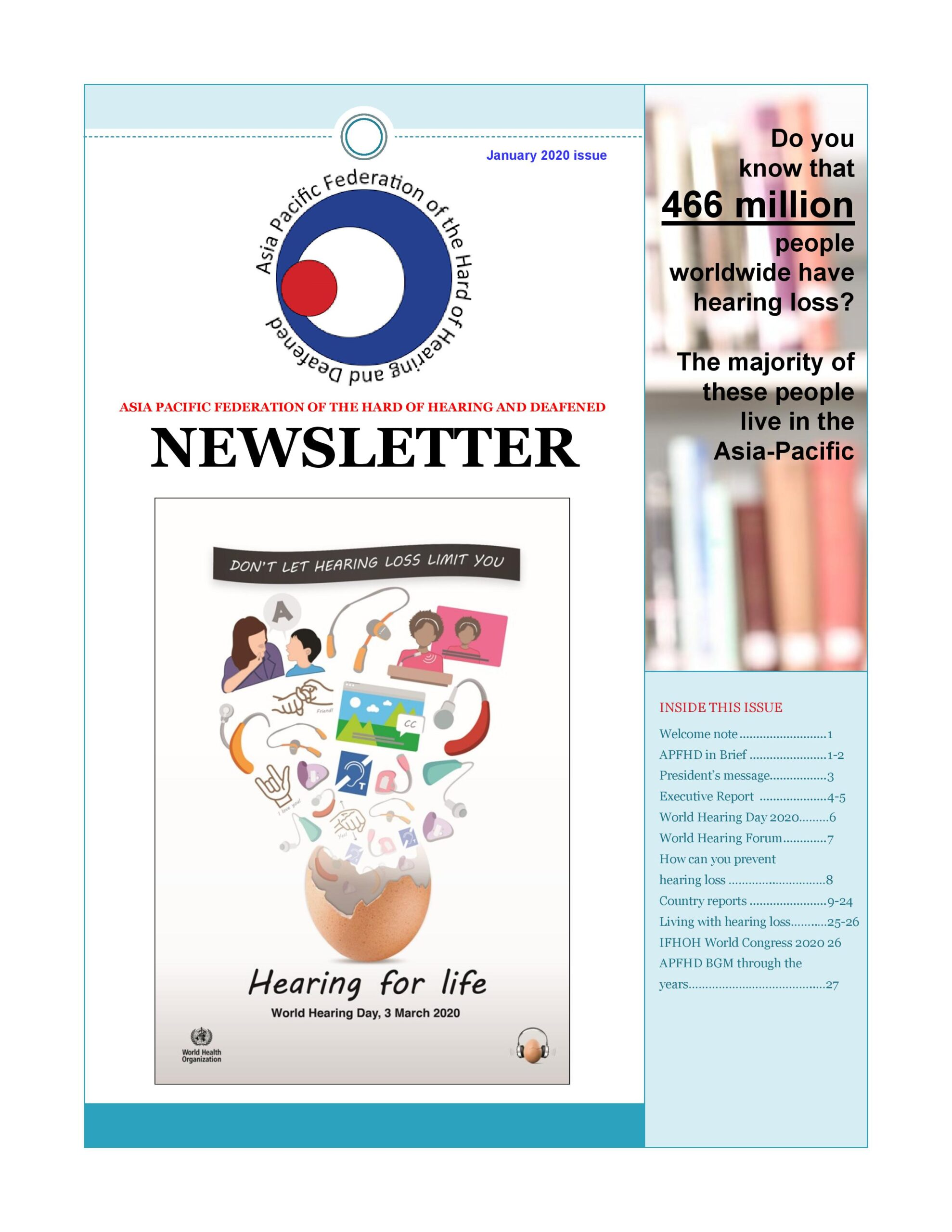 APFHD January 2020 Newsletter